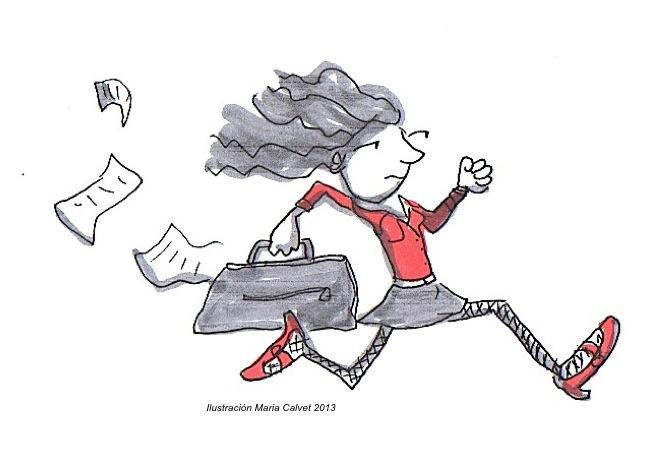 Vida sana. Dibujo de mujer estresada corriendo. Autora Maria Calvet
