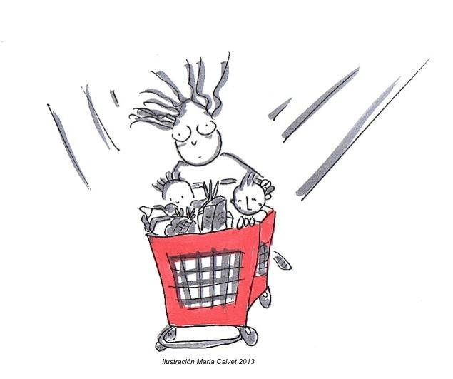 Dibujo de una mujer corriendo con carrito de super y 2 niños dentro. Ilustración Maria Calvet 2013. www.mariacalvet.com