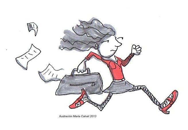 Mujer ejecutiva corriendo. Ilustración Maria Calver 2013. www.mariacalvet.com
